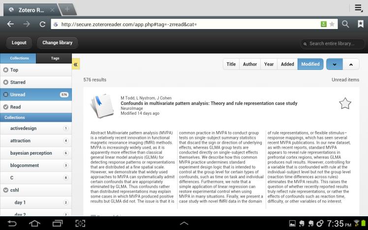 Zotero Reader web